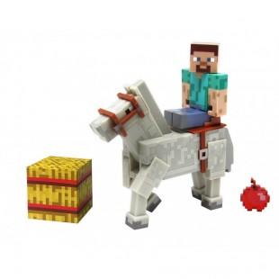 Стив и Белая лошадь кубик и яблоко фигурки Minecraft