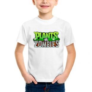 Детская футболка с логотипом Plants vs zombies