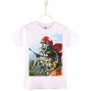Детская футболка с принтом зомби против растений