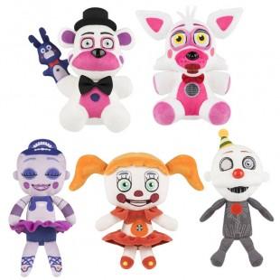 Мягкие игрушки серии ФНАФ локация сестер аниматроников набором высотой 20 см.